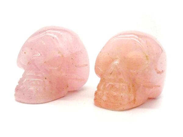 rose quartz hand carved gemstone skull