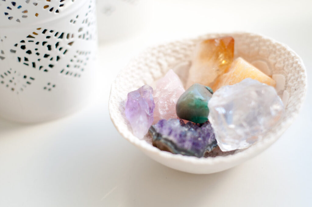 bowl of crystals